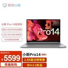 联想小新Pro14 win11新品14英寸2.8K锐龙R5高色域轻薄笔记本电脑办公游戏本学生超极本 六核R5-5600H 16G 512G固态 标配版 2.8K超清屏 90Hz刷新率 3面微边框